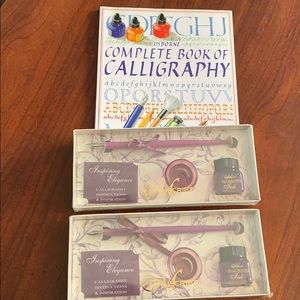 Calligraphy set book and 2 pen sets with ink NIB❣️